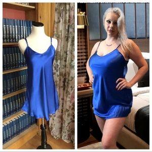 Silky charmeuse electric blue chemise w/adj straps